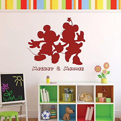 Disney Home Decor Mickey and Minnie Vinyl Wall Decals for Preschool, Home, or Child Care Center (Cartoon Character Couples)