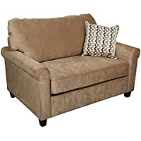 Porter Designs U1062 Serena Plush Microfiber Twin Sleeper Sofa, Khaki
