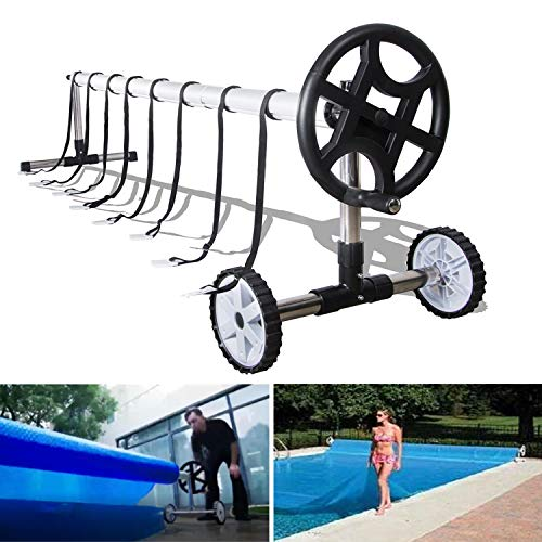 Reels Motorized (NSDirect Swimming Pool Cover Blanket Reel Set 20' FT Wide Stainless Steel for Inground Pool Roller Solar Cover Aluminum)