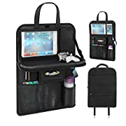 [Upgraded] Seat Back Organizers, Automotive Organizer Car Seat Organizer with Tablet Pocket Wet Wipes Pocket Mesh Pocket for Toy Magazine Storage Travel Accessory for Kids (Black 1PC)