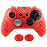 Cheap eXtremeRate Soft Anti-slip Silicone Controller Cover Skins Thumb Grips Caps Protective Case for Microsoft Xbox One Elite Red