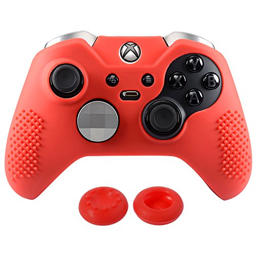 Grip Silicone Sport (eXtremeRate Soft Anti-Slip Silicone Controller Cover Skins Thumb Grips Caps Protective Case for Microsoft Xbox One Elite Red)