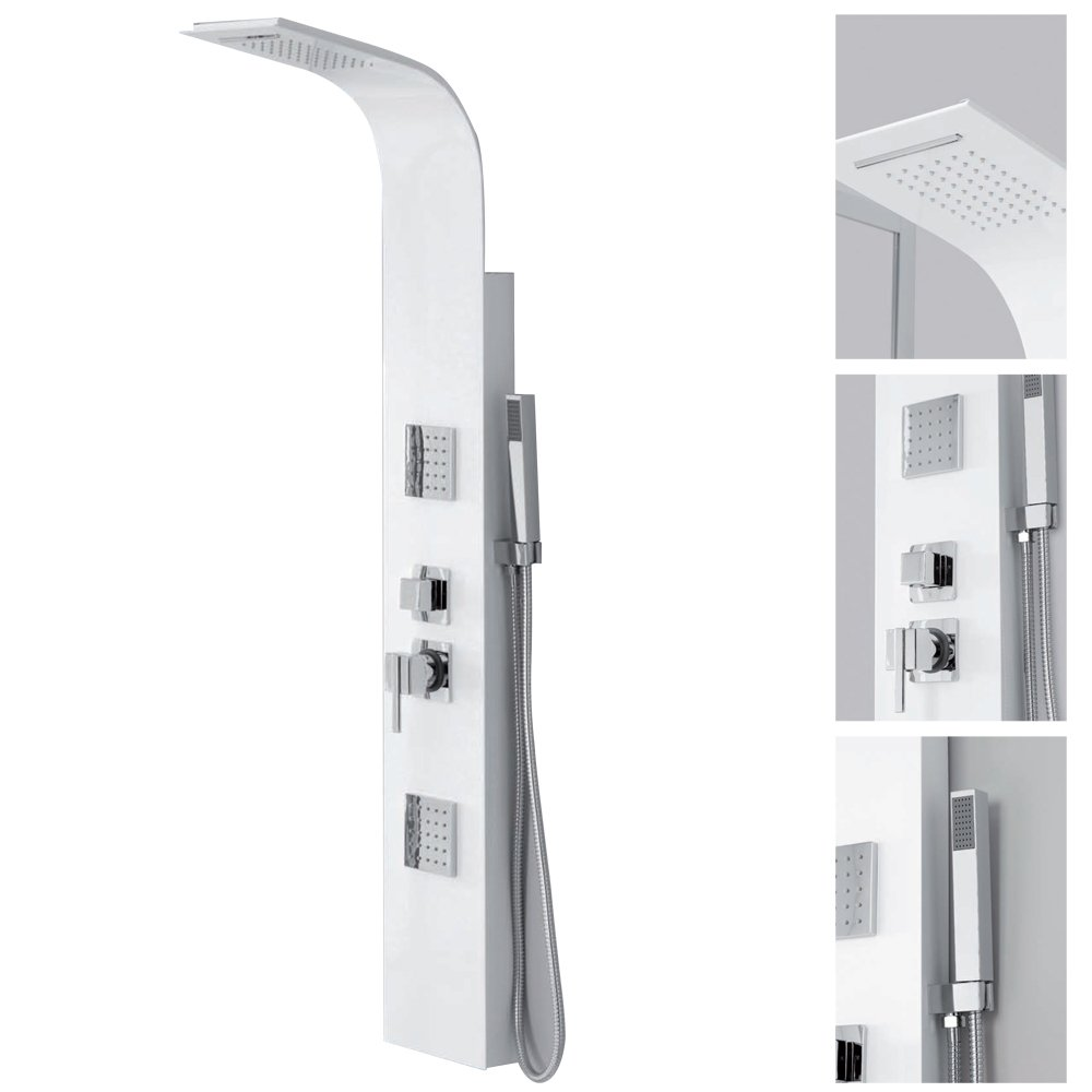 Columna de ducha de aluminio blanco alcachofa + Alcachofa Baño ...