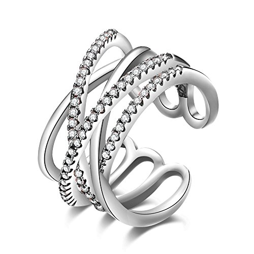 Chunky Sterling Silver Rings - efigo Fashion Womens Statement Ring Stackable Band Rings for Women Sterling Silver Jewelry Rings Adjustable
