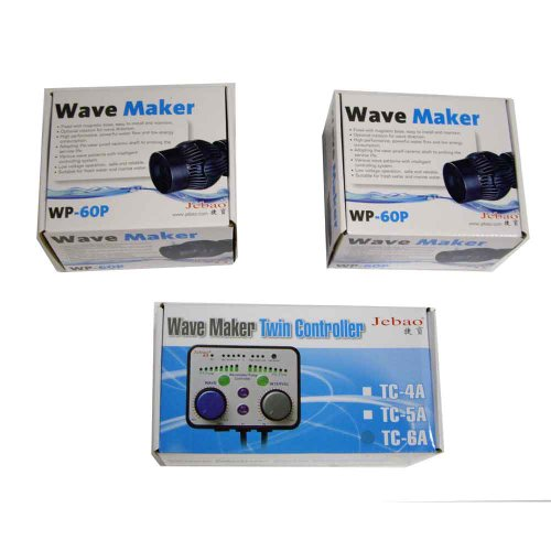 2 Jebao WP-60P aquarium wave maker with TWIN Dual controller TC-6A coral reef tank by Jebao
