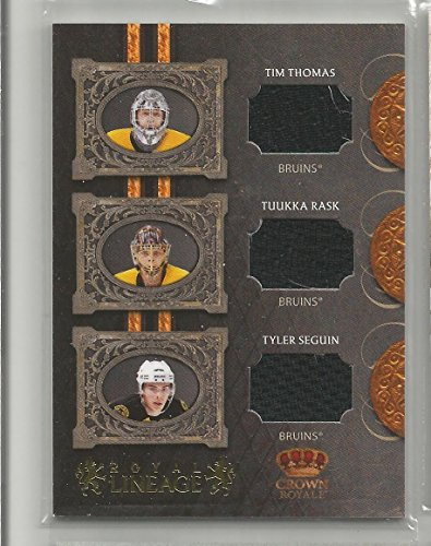 2010-11 Crown Royale Hockey Tim Thomas-Tukka Rask-Tyler Seguin Bruins Royal Lineage Card # 64/100 - Thomas Hockey Tim