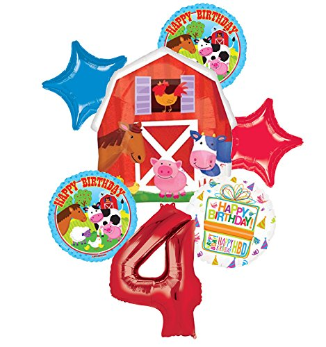 Farm Animal 4th Birthday Party Supplies and Barn Balloon Bouquet Decorations by Mayflower Products