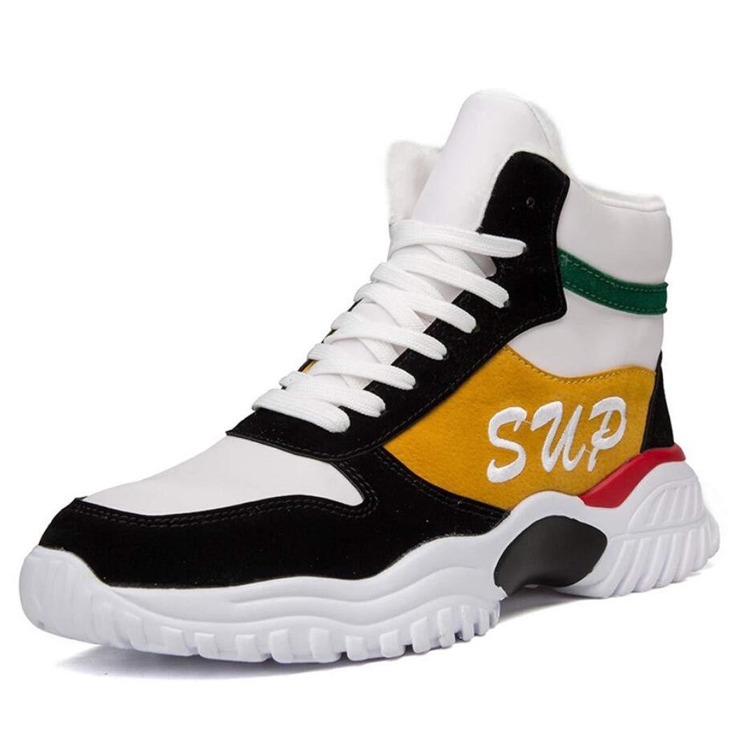 Zxcvb Schuhe Jungen Hohe Hilfe Hip Hop National Gezeiten Schuhe Rekindling Alte Slab Schuhe Herbst Atmungsaktive Lässige Turnschuhe 39-44 (Farbe : Gelb)