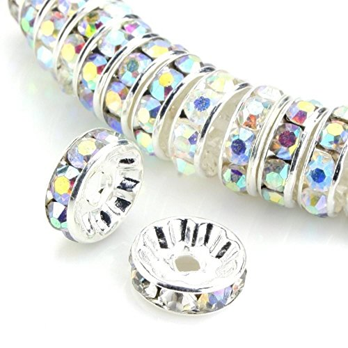 (100pcs 4mm Silver Plated Copper Brass Rondelle Spacer Round Loose Beads Clear AB Austrian Crystal Rhinestone for Jewelry Crafting Making CF3-402)
