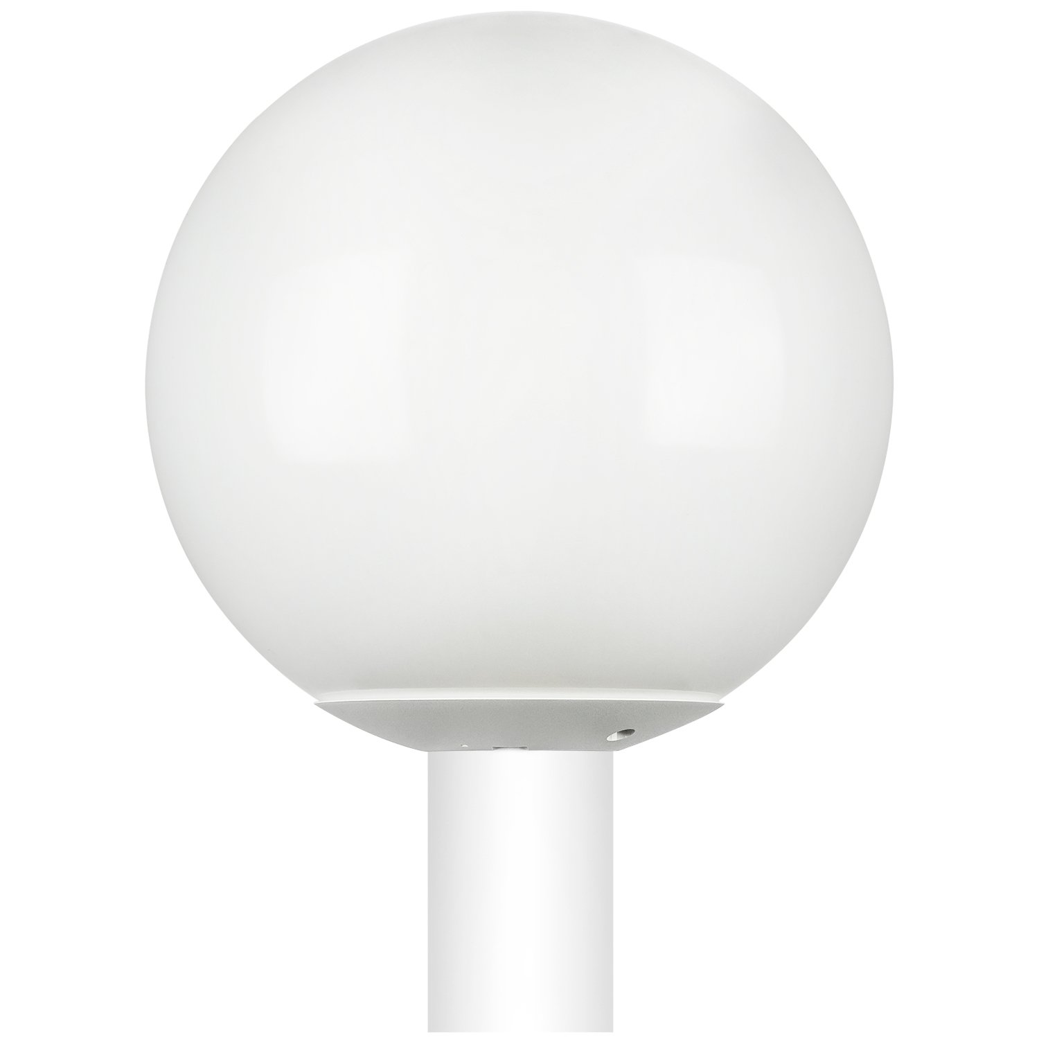 """Sunlite DOD/12GL/WH/WH/MED 12"""" Decorative Outdoor Neckless Globe Polycarbonate Post Fixture, White Finish, White Lens, 3"""" Post Mount (Not Included), 12"""""""