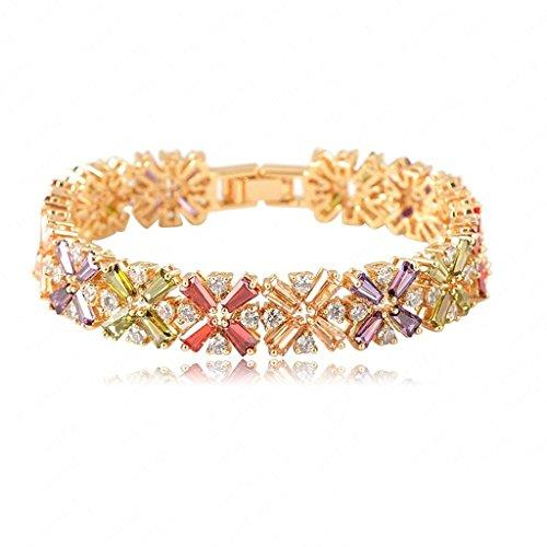 Alimab Jewelery Womens Link Bracelets Gold Plated Flower Multicolor (Alice In Wonderland Jewelery Kit)