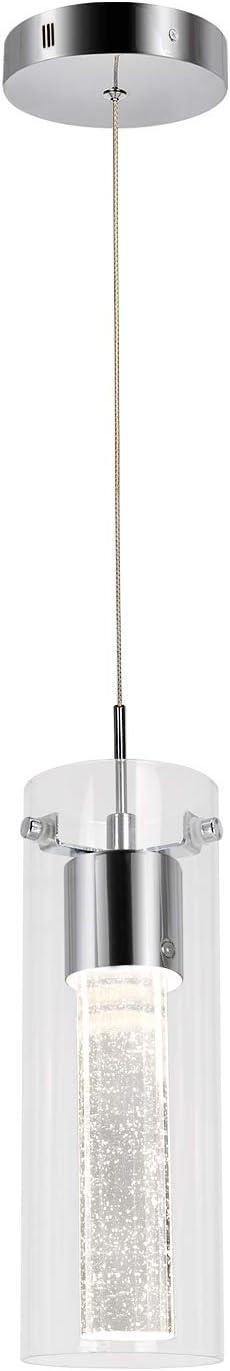 1-Light Mini Pendant Ceiling Fixture, Integrated LED Kitchen Lighting, 8.5W (40 Watt Equivalent), CRI 90+, 640lm Premium Bubble Glass with Chromed Finished, ETL Listed