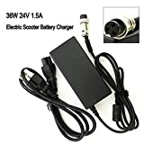 36W 24V 1.5A Electric Scooter Battery Charger for Razor E100 E125 E150 E175 E200 E300 E500 MX350 3-Prong;Mini Chopper; Dirt Quad; Pocket Rocket; Pocket Mod Electric Scooter 3-Prong Inline