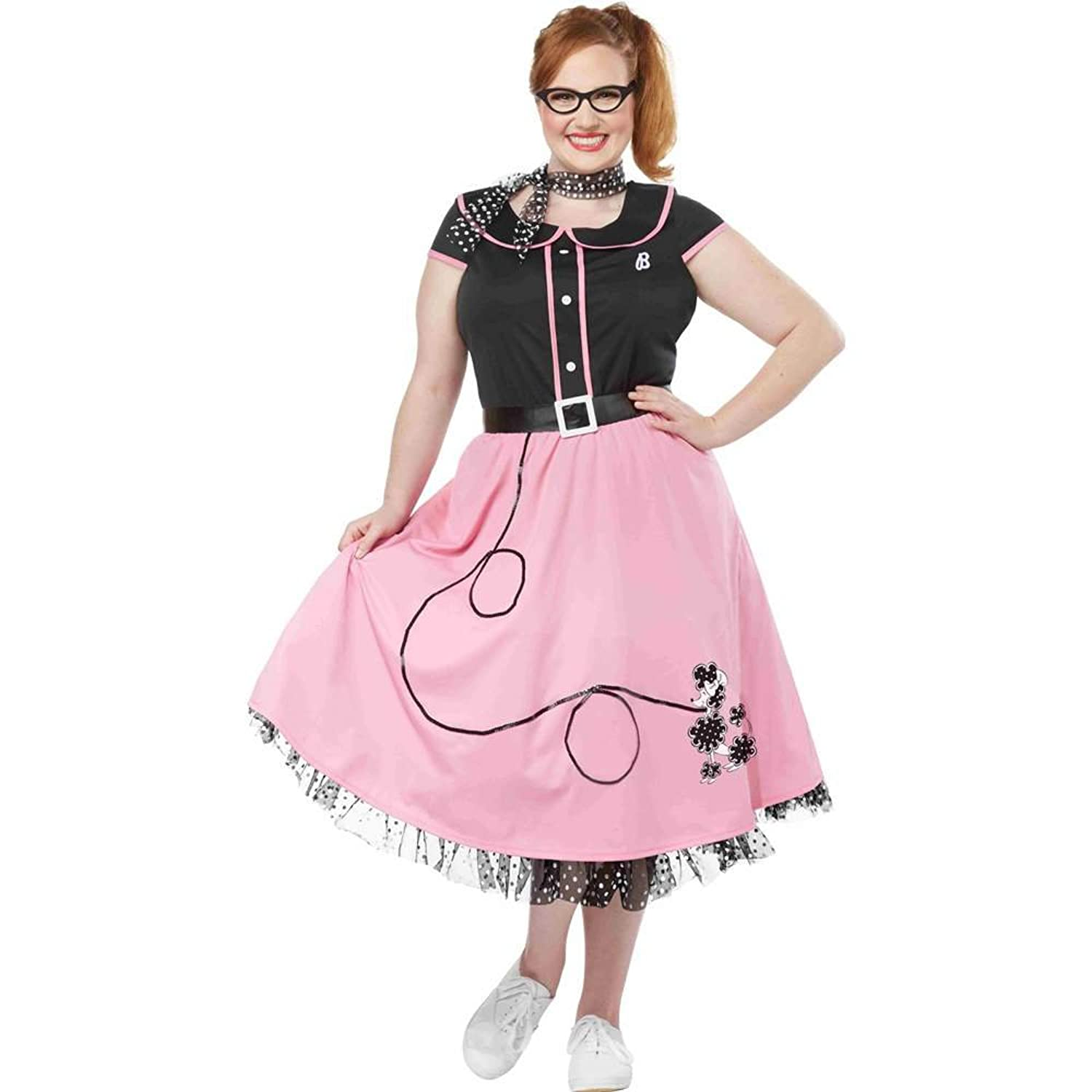 Amazon Womens 50s Sweetheart Plus Size Pink Poodle Skirt Costume Clothing