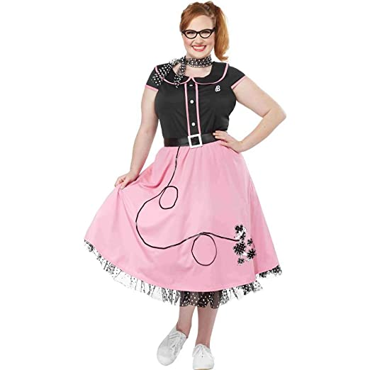 98cc6d356b68 Amazon.com: California Costumes Fifties Sweetheart Plus Size Costume-  Black/Pink: Clothing