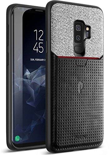 Galaxy S9 Plus Credit Card Case, Poetic Nubuck [Credit Card Slot][Pull-Tab] Credit Card ID Slot Case - Stylish Thin TPU + Premium Leather Back Case for Samsung Galaxy S9 Plus Black