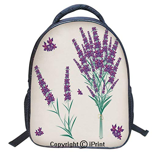 Fragrant Waters Roll - Designer Original Art Print Casual Backpack,Travel Backpack 16Inch Laptop Bag,16 inch,Aromatic Blossoms Bouquet from Provence France Fragrant Herbal Flora Decorative