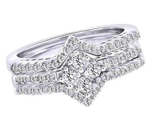 Jewel Zone US Beautiful Trio Engagement Wedding Ring Set Cubic Zirconia in 925 Sterling Silver ()