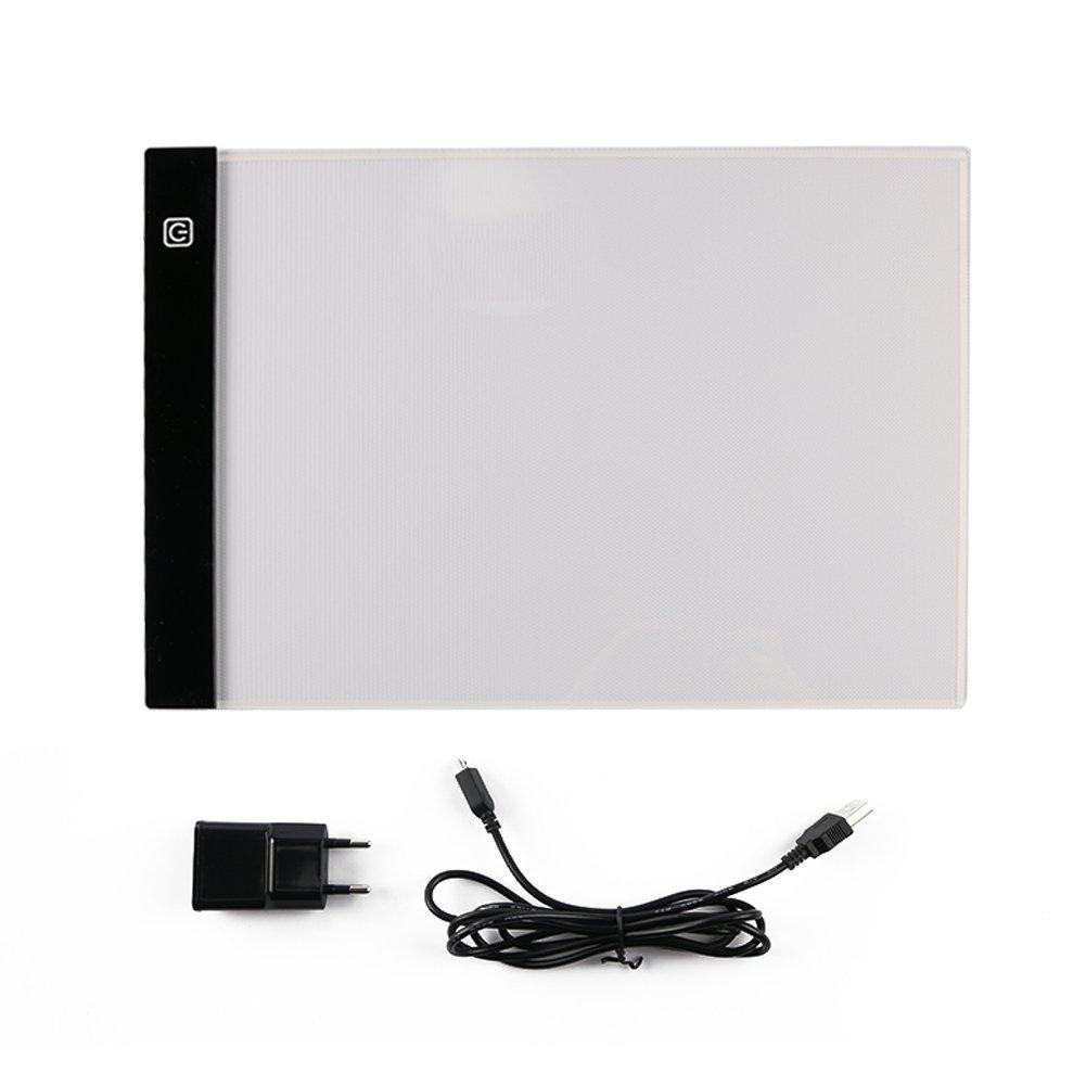 NouveLife - Tablet luminoso A4 LED, ultra piatto, con cavo USB per alimentazione e trasferimento dati, disegno, calligrafia, scrapbooking, presa francese