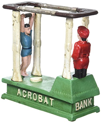 (Design Toscano The Acrobat Collectors' Die-Cast Iron Mechanical Coin Bank)