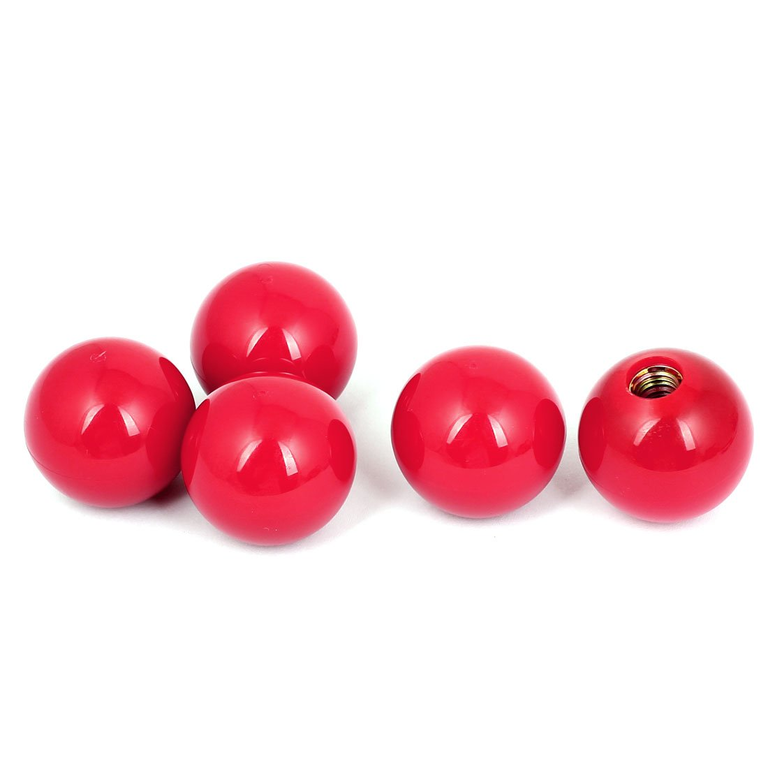 38mm Diameter M10 Bore Plastic Ball Knobs Machine Handles Red 5 Pcs