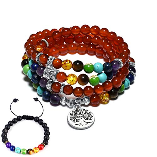 CAT EYE JEWELS 6MM Natural Red Agate 108 Mala Beads Necklace 7 Chakra Meditation Bracelet]()