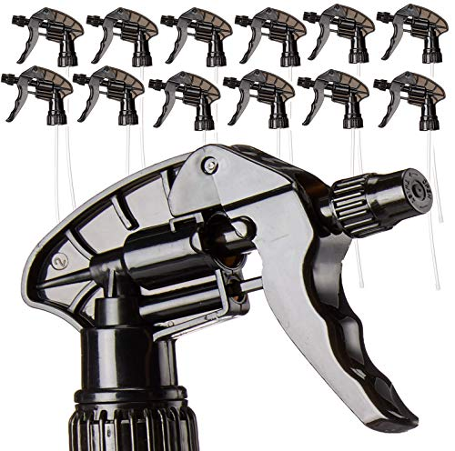 S & E Packaging Replacement Trigger Sprayers/Spray Nozzles - HIGH Capacity Chemical Resistant for 32 oz Spray Bottles - Pumps - Nozzles - Set of 12