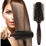 HOMEIDEAS Styling Essentials Natural Boar Bristles Hair Brush, Round Comb Ruled 2.2-Inch
