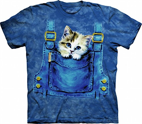 The Mountain Kids Kitty Overalls T-Shirt, X-Large, Blue