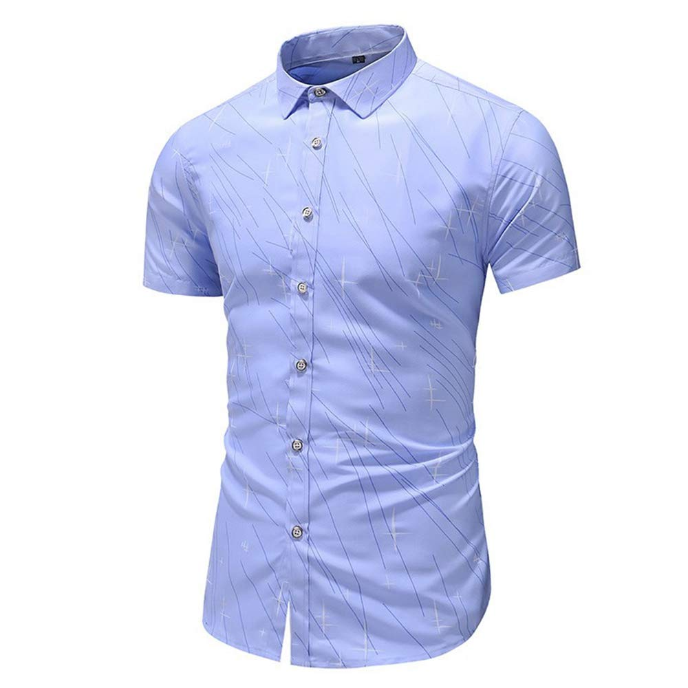 ZYSHI Shirts for Men Short Sleeve Print Button Turn-Down Collar Slim Fit Shirt