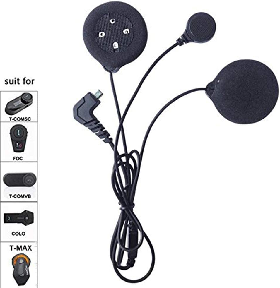 FreedConn Microphone Headphone Soft Cable Headset /& Clip Accessory for T-COMVB and T-COMSC Series Motorcycle Helmet Bluetooth Interphone Motorbike Intercom