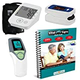 Blood Pressure Monitor + Infrared Thermometer + Fingertip Pulse Oximeter + Vital Signs Guide Book with COPD CHF CVA Management Charts and Nutrition Guide - Complete Home Health Kit in Gift Ready Box