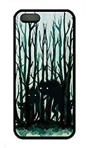 iPhone 5S Case, Personalized Protective Soft Rubber TPU Wolf In Dark Black Case Cover for iPhone 5 5S by mcsharks