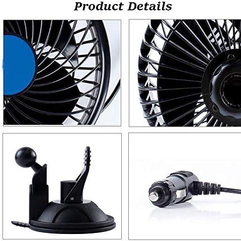 6 Zoll Autolüfter 12v Einstellbarer Geräuscharmer Autolüfter Saugnapf Autoluftventilator Kühler Mit Variablem Drehzahlschalter Auto