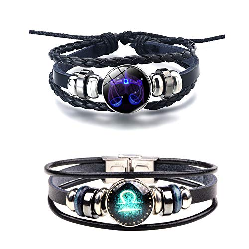 Q﹠YFH Fashion 12 Zodiac Signs Bracelet with Stainless Steel Clasp Leather Bracelet Bangle Set for Women Jewelry ()