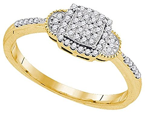 Size 11 - 10k Yellow Gold Round Diamond Square Cluster Ring (1/5 Cttw) - 10k Gold Cluster Ring
