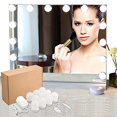 LED Vanity Mirror Lights Kit, Hollywood Style Vanity Makeup Mirror Lights, 13ft/4m Lighting Fixture Strip with 10 LED Bulbs for Makeup Dressing Table Vanity Set in Dressing Room(Mirror Not Included)
