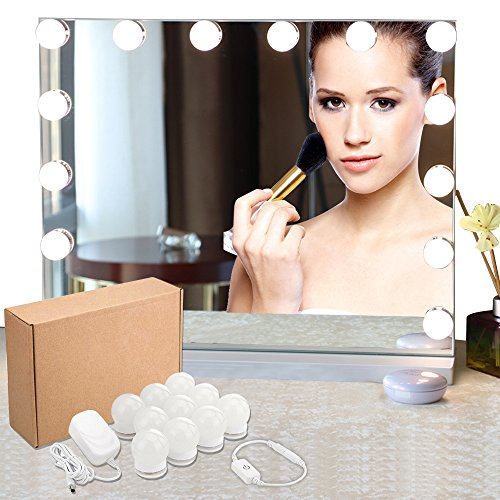 LED Vanity Mirror Lights Kit, Hollywood Style Vanity Makeup Mirror Lights, 13ft/4m Lighting Fixture Strip with 10 LED Bulbs for Makeup Dressing Table Vanity Set in Dressing Room(Mirror Not Included) by PAPRMA