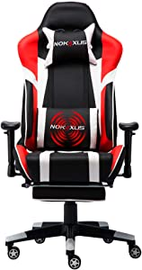 Nokaxus Gaming Chair Large Size High-Back Ergonomic Racing Seat with Massager Lumbar Support and Retractible Footrest PU Leather 90-180 Degree Adjustment of backrest Thickening sponges (YK-6009-RED)