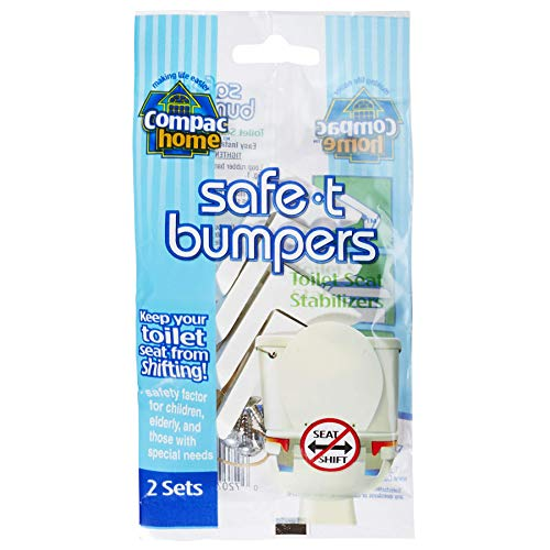 (Compac Home Toilet Seat Stabilizers Safe T Bumpers, Lock Seat Safely in Place, Keeps Children, Elderly, Disabled Safe From Slipping Off Shaking, Moving or Wobbly Toilet Seat—Easy to Install (2 Pairs))