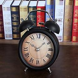CLOCKS CC Vintage 3D Metal Jow Alarm Clock Double Bell Desk Clocks Twin Ring Clock Home Office Mute Night Light Clock , black