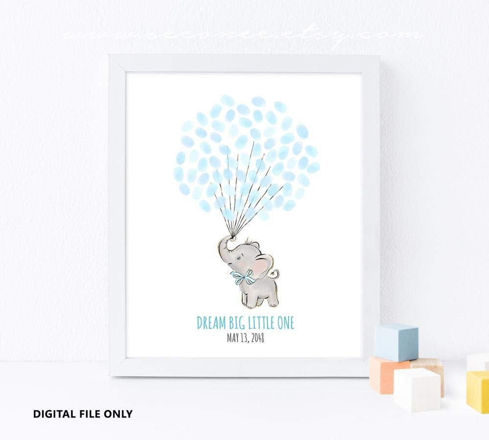 graphic relating to Printable Guest Book called : Elephant Youngster Shower guestbook Remedy