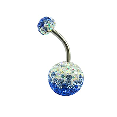 Pierced Art Trends Pretty Belly Button Ring With Gradual Color Crystal Ferido Ball Navel Ring For Women Girl