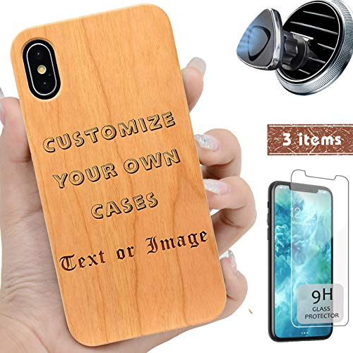 iProductsUS Make Your Own Wood Phone Case Compatible with iPhone Xs MAX,Magnetic Mount and Screen Protector-Engraving Picture and Words,Compatible Wireless Charging,Metal Plate Built-in Cover (6.5