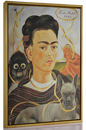 Berkin Arts Framed Kahlo de Rivera Giclee Canvas Print Paintings Poster Reproduction Fine Art Home Decor (Self-Portrait Small Monkey) (Painting Of Frida Kahlo And Diego Rivera)