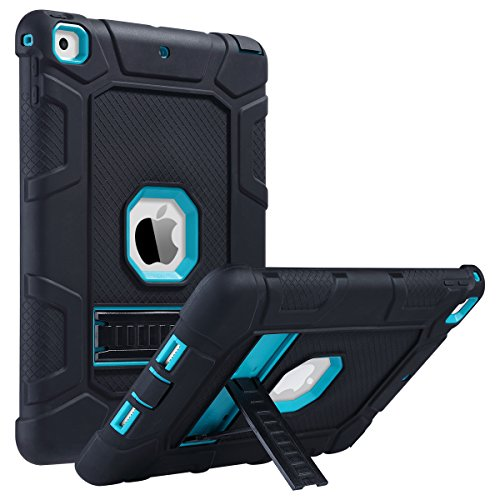 iPad 2017 iPad 9.7 inch Case, iPad Case for Kids, ULAK Kickstand Shockproof Protective Case Three Layer Heavy Duty Soft Silicone Rubber Skin Hard PC Shell Cover for iPad 9.7 inch 2017 -Black/Aqua Blue (2017 Thanksgiving Decorations)