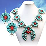 Turquoise Silver Coral Southwest Squash Blossom Necklace