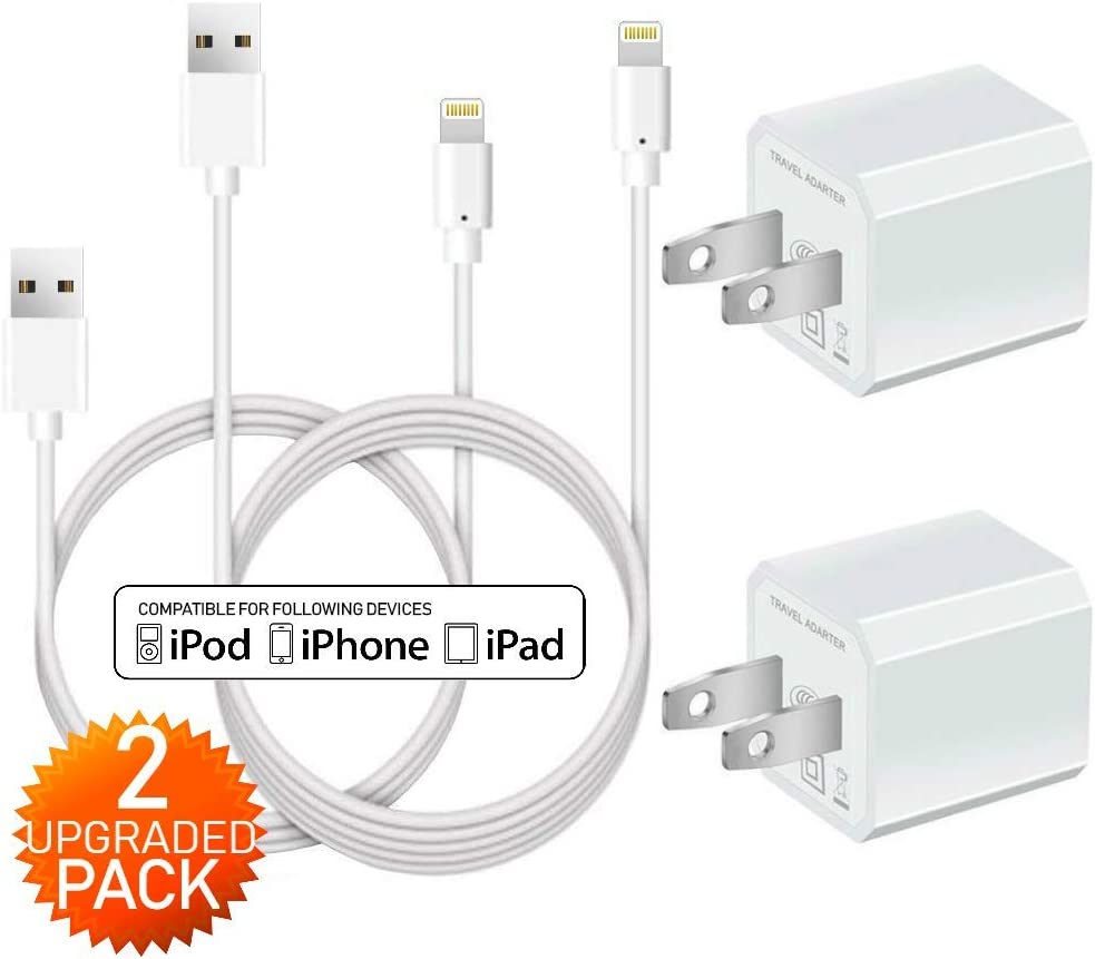 Boost Phone Charger Fast Charging 2Pack 3Ft Cable Data Sync Transfer Cord with 2Pack 1-Port Plug Wall Charger TV White