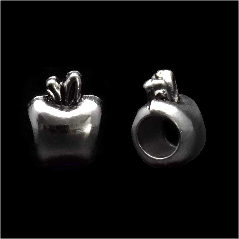 Pack of 50 Apples Antique Silver Plated Spacer Loose Beads Charms for Pandora Bracelet DIY Jewelry Making