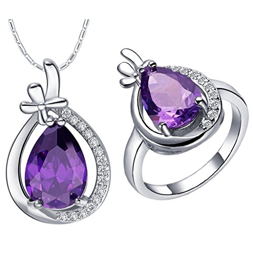 KnSam Women Jewelry Set Platinum Plate Necklace Ring Set Water-drop Purple Size 6 (Nightmare Before Christmas Couples Necklace)
